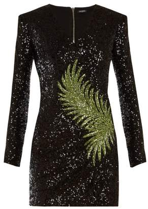 Balmain Sequin Embellished Mini Dress - Womens - Black Green
