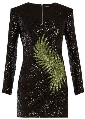 808bb53883e Balmain Sequin Embellished Mini Dress - Womens - Black Green