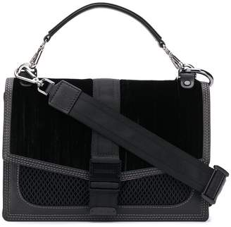Diesel velvet-panelled cross-body