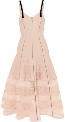 Alexander McQueen Tulle-paneled Stretch-jacquard Dress - Blush