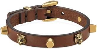 Gucci Feline Head Stud Leather Bracelet