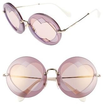 Women's Miu Miu 62Mm Heart Inset Round Sunglasses - Lilac Mix $390 thestylecure.com
