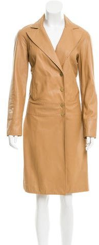 Valentino Valentino Leather Knee-Length Coat