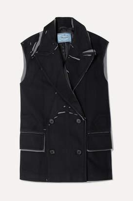 Prada Oversized Printed Cotton-twill Vest - Black