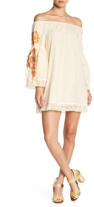 ALLISON NEW YORK Embroidered Bell Sleeve Fringe Trim Dress