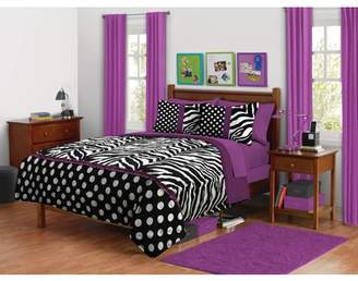 Your Zone your zone zebra purple dot bedding comforter set