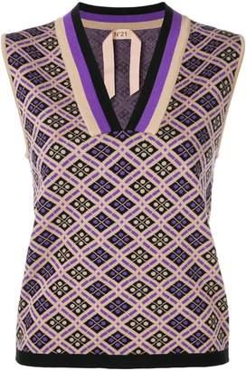 No.21 jacquard knit sleeveless top