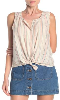 Lucky Brand Striped Tie Front High/Low Tank Top
