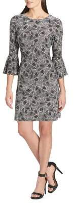 Tommy Hilfiger Palm-Print Bell-Sleeve A-Line Dress