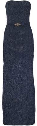 Oscar de la Renta Strapless Embellished Lamé Gown