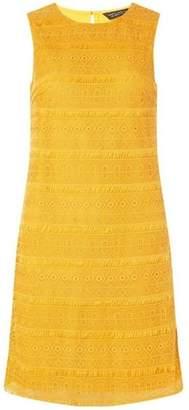 Dorothy Perkins Womens Mustard Fringed Lace Shift Dress