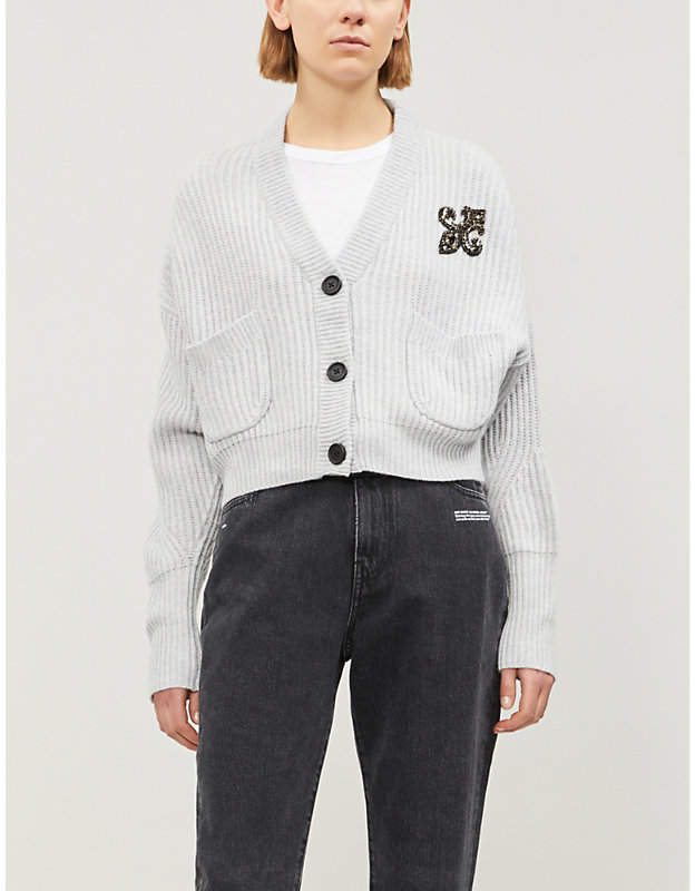 Fleur de Lys cropped wool and cashmere-blend cardigan