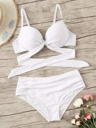 Shein Wrap Top With Ruched Bikini Set