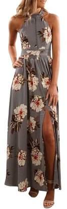 YONYWA Women Floral Print Halter Dress Sleeveless Maxi Dress