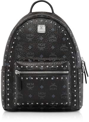 MCM Small Black Studded Outline Visetos Stark Backpack