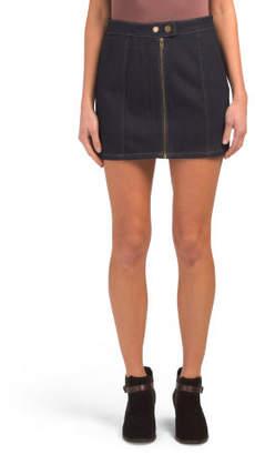 Juniors Front Zip Button Mini Skirt