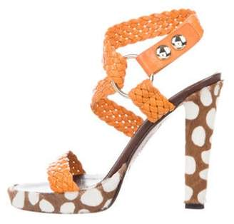 Brian Atwood Leather Peep-Toe Sandals Yellow Leather Peep-Toe Sandals