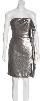 Halston Sequin Strapless Mini Dress