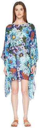 Mary Katrantzou Beach Poncho Printed Georgette Cover-Up Women's Swimwear
