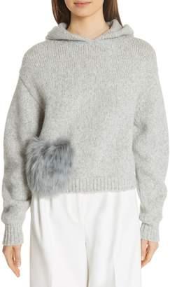 Tibi Genuine Alpaca Fur Pocket Hoodie