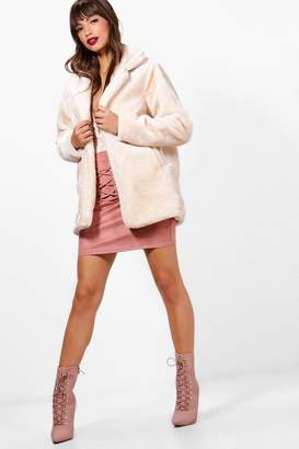 boohoo Maddie Collared Faux Fur Coat