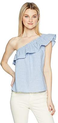 Love by Design Junior's One Side Off The Shoulder Top with Ruffle