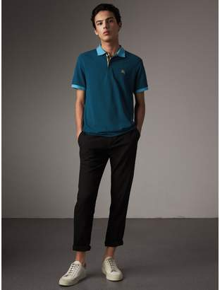 Burberry Two-tone Check Placket Cotton Piqué Polo Shirt $195 thestylecure.com