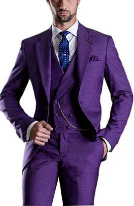Everbeauty Men's Vintage 3 Pieces Singe Breasted Tuxedo Suits for Prom Sim Fit Purpe