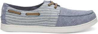 Blue Chambray Stripe Men's Culver Boat Shoes