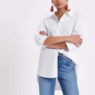 River Island Womens White long sleeve tie back shirt