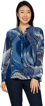 Susan Graver Printed Sheer Chiffon Shirt and Knit Tank Set