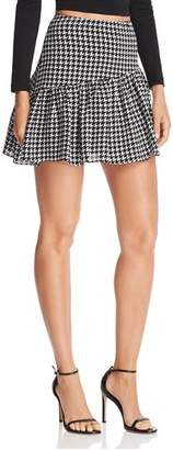 Aqua Houndstooth Asymmetric Mini Skirt - 100% Exclusive