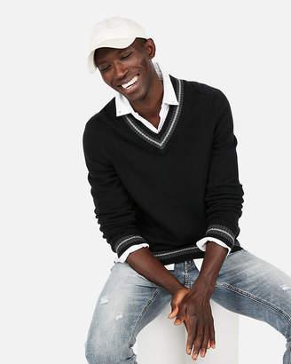 Express Stripe V-Neck Sweater