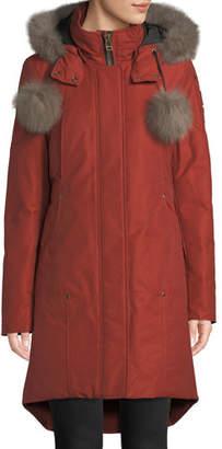 Moose Knuckles Meighen Parka Coat w/ Fur Hood & Pompoms