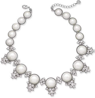 Charter Club Silver-Tone Crystal & Imitation Pearl Statement Necklace, Created for Macy's