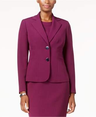 Kasper Womens Crepe Solid Two-Button Blazer Purple