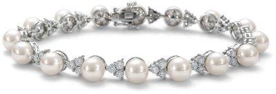 Premier Akoya Cultured Pearl and Diamond Bracelet in 18k White Gold