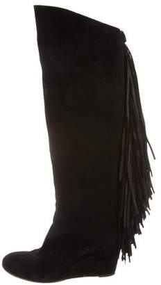 Christian Louboutin Wedge Fringe-Trimmed Boots