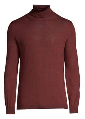 Boglioli Men's Wool Turtleneck Sweater - Maroon - Size Small