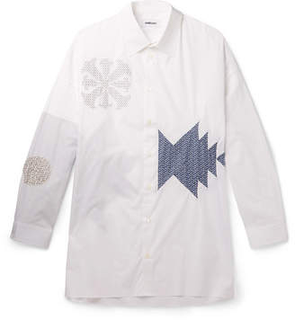 Ambush Oversized Appliquéd Cotton-Blend Poplin Shirt