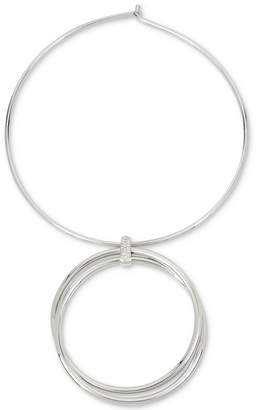 Kenneth Cole New York Silver-Tone Double-Ring Large Circular Pendant Necklace
