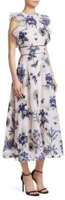 Lela Rose Floral-Embroidered Organza Ruffle A-Line Dress