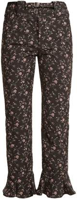 Ruffled-cuff cropped floral-jacquard trousers