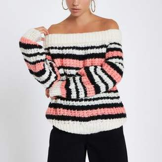 River Island Pink stripe knitted bardot sweater