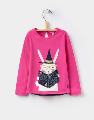 Joules Clothing True Pink Magic Book Chomp Applique Top 1yr