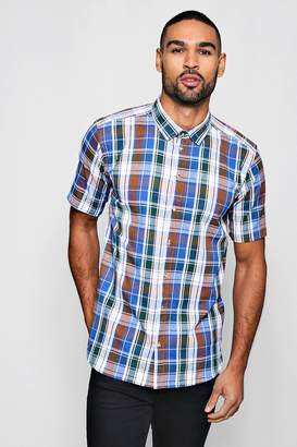 boohoo Short Sleeve Flannel Check Shirt