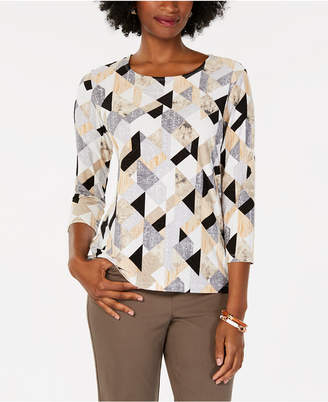 JM Collection Petite Printed 3/4-Sleeve Jacquard Top