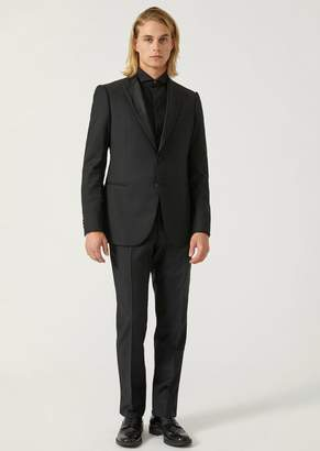 Emporio Armani Modern Fit Suit In Pure Virgin Wool With Satin Lapel