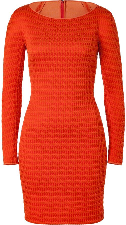 Ports 1961 Blood Orange Textural Stretch Dress