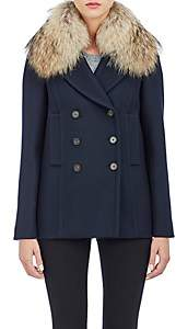 Barneys New York Women's Fur-Collar Double-Breasted Jacket - Midnight